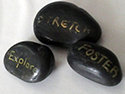 Stones with words were used as an icebreaker at a previous Community Works  conference.